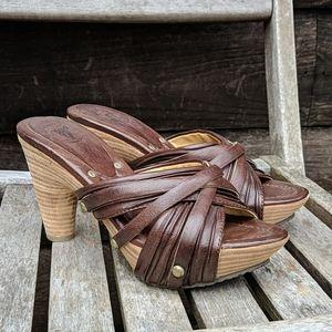 NWOB Frye Reese Multi Slide Brown Leather